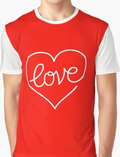 Love (03 - White on Red) Graphic T-Shirt