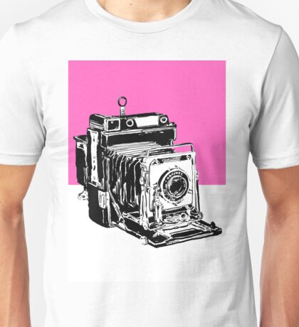 Vintage Graphex Camera in Hot Pink Unisex T-Shirt