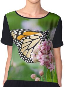 Monarch Butterfly on Milkweed Flower Chiffon Top