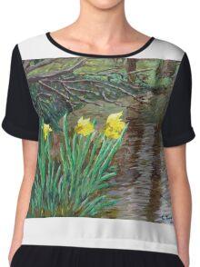 """""""Farndale Daffodils in the Spring"""" Chiffon Top"""