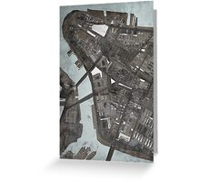 Abstract Map of Lower Manhattan Greeting Card