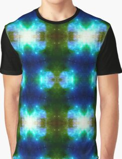 Blue X galaxy kaleidoscope, psychedelic design with stars Graphic T-Shirt