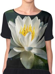 White Water Lily Flower Chiffon Top