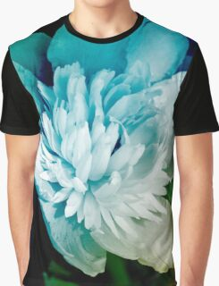 Blue Peony Flower Graphic T-Shirt