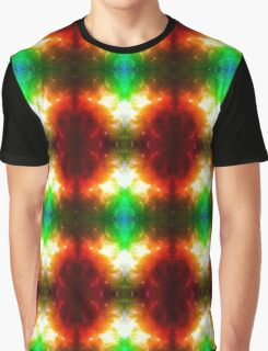 Fire cosmic psychedelic design with stars and fireworks Graphic T-Shirt