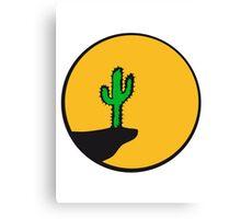 sun night moon cliff mountainside werewolf cactus sunset full moon desert canyon cactus Canvas Print