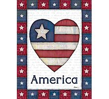 American Flag in a Heart Photographic Print