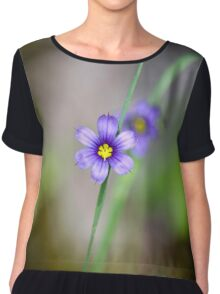Blue Eyed Grass Flower Chiffon Top