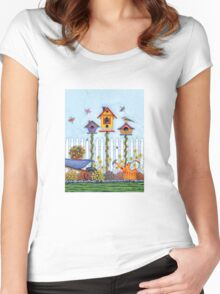 Trio of Birdhouses Women's Fitted Scoop T-Shirt