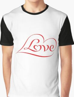 Love (04 - Red on White) Graphic T-Shirt