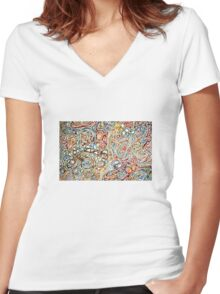 Swirls of Happiness Women's Fitted V-Neck T-Shirt