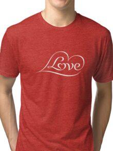 Love (04 - White on Red) Tri-blend T-Shirt