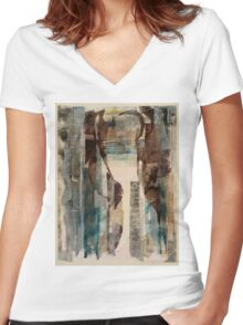 AN EMPTY DOORWAY AND A MAPLE LEAF—MACLEISH Women's Fitted V-Neck T-Shirt