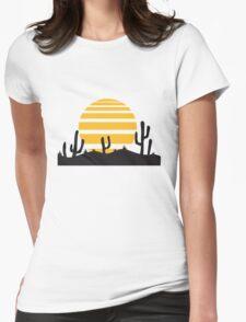 sun landscape pattern desert evening night sunset sunrise kakten cactus hot hot Womens Fitted T-Shirt