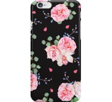 Black background with bouquets of rose and eucaliptis leaves iPhone Case/Skin