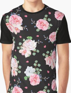 Black background with bouquets of rose and eucaliptis leaves Graphic T-Shirt