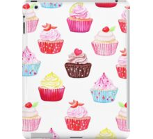 Watercolor cupcakes vector seamless pattern. Hand drawn background. iPad Case/Skin
