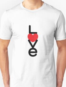 Love (05 - Black & Red on White) Unisex T-Shirt