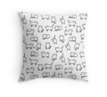 Funny white cats. Throw Pillow