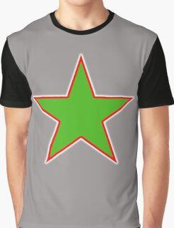 GREEN STAR, RED OUTLINE, on Black Graphic T-Shirt