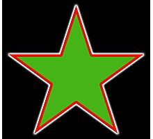 GREEN STAR, RED OUTLINE, on Black Photographic Print
