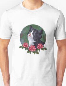 Cat with Pink Roses: Oil Pastel Art, Kitten Unisex T-Shirt