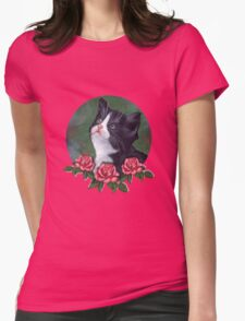 Cat with Pink Roses: Oil Pastel Art, Kitten Womens Fitted T-Shirt