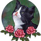 Cat with Pink Roses: Oil Pastel Art, Kitten by Joyce Geleynse