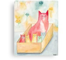 Mom and Kittens in a Box Canvas Print
