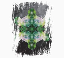 Metatron's Cube green One Piece - Long Sleeve