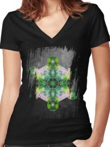 Metatron's Cube green Women's Fitted V-Neck T-Shirt