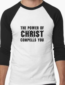 The Power Of Christ Compells You Exorcist Quote Horror Scary Men's Baseball ¾ T-Shirt