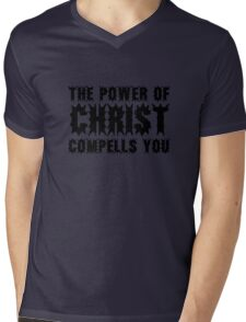 The Power Of Christ Compells You Exorcist Quote Horror Scary Mens V-Neck T-Shirt