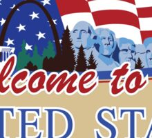 Welcome to the United States of America, US-Canada Border Road Sign, USA Sticker