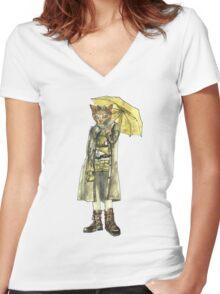 Steampunk Yellow Umbrella Cat Women's Fitted V-Neck T-Shirt