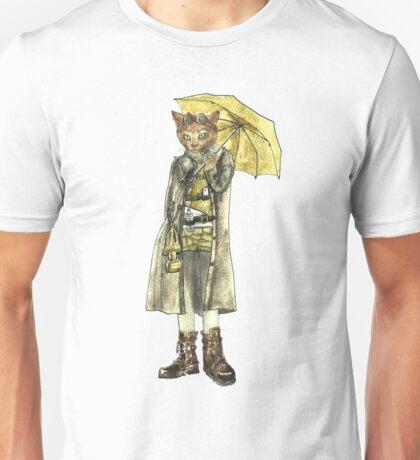 Steampunk Yellow Umbrella Cat Unisex T-Shirt