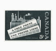 "1957 Canada ""A Free Press"" postage stamp One Piece - Long Sleeve"