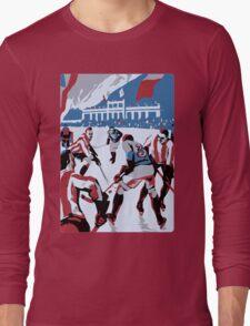 Retro style Ice hockey red white blue Long Sleeve T-Shirt