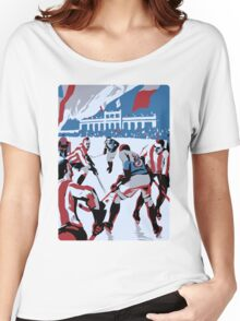 Retro style Ice hockey red white blue Women's Relaxed Fit T-Shirt