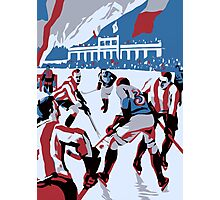 Retro style Ice hockey red white blue Photographic Print