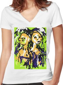 Two Heads Women's Fitted V-Neck T-Shirt