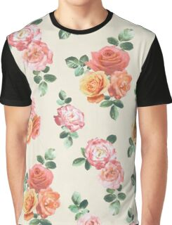 Retro Peach and Pink Roses Graphic T-Shirt