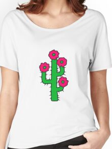 beautiful flower blossoms large desert cactus spines Women's Relaxed Fit T-Shirt