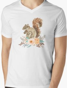Woodland Floral Squirrel  Mens V-Neck T-Shirt