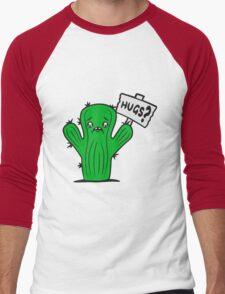 shield sad comic cartoon face hug hugs hugz sweet cute little green sweet cute cactus desert embrace balcony Men's Baseball ¾ T-Shirt