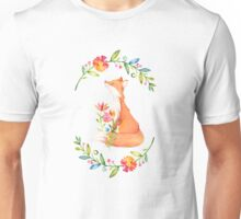 Red Fox Floral Watercolor Wreath Unisex T-Shirt