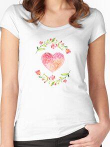 Watercolor Folk Art Floral Heart Women's Fitted Scoop T-Shirt