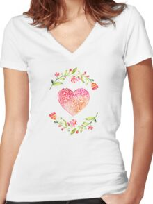 Watercolor Folk Art Floral Heart Women's Fitted V-Neck T-Shirt