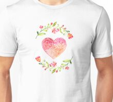 Watercolor Folk Art Floral Heart Unisex T-Shirt