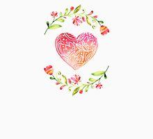 Watercolor Folk Art Floral Heart Unisex T-Shirt